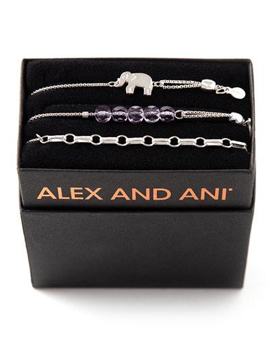 Orchid Elephant Bracelets, Set of 3