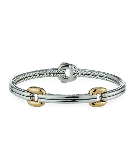 David Yurman Thoroughbred Double-Link Bracelet w/ 18k Gold, Size S-L