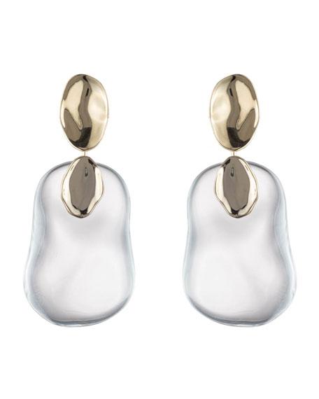 Alexis Bittar Disk & Liquid Lucite Dangle Earrings, Clear