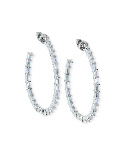 Crystal-Baguette Hoop Earrings