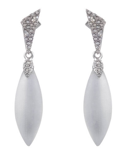 Crystal Encrusted Dangle Earrings, Silver
