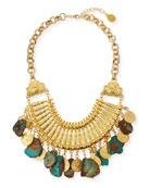 Devon Leigh Turquoise Slab & Gold Coin Bib