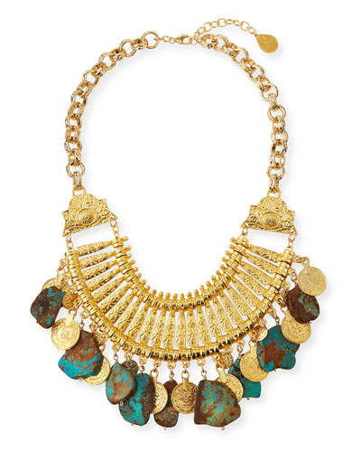 Turquoise Slab & Gold Coin Bib Necklace