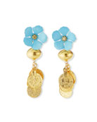 Devon Leigh Blue Flower & Gold Coin Cluster