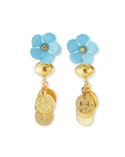 Blue Flower & Gold Coin Cluster Earrings