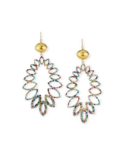 Multicolor Crystal & Gold Drop Earrings