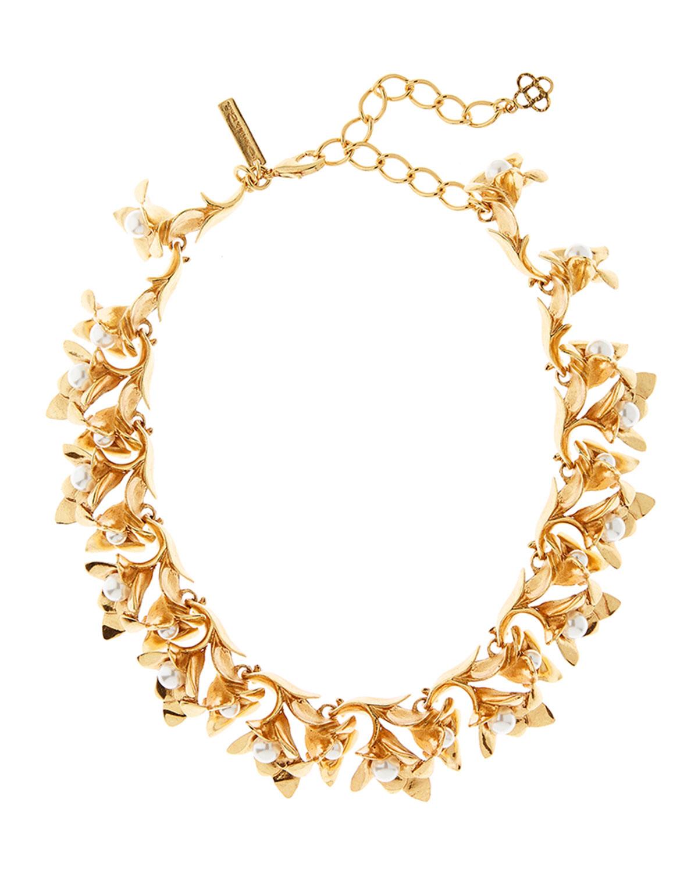 Oscar De La Renta Accessories PEARLY FLOWER NECKLACE