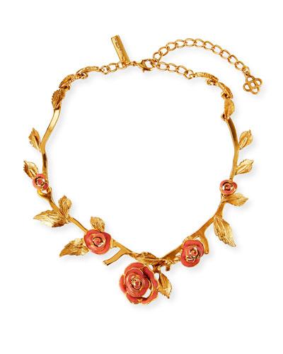 Petite Matte Rose Necklace, Coral