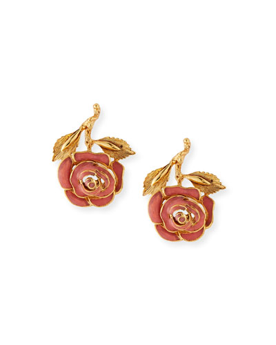 Petite Matte Rose Clip-On Earrings, Coral