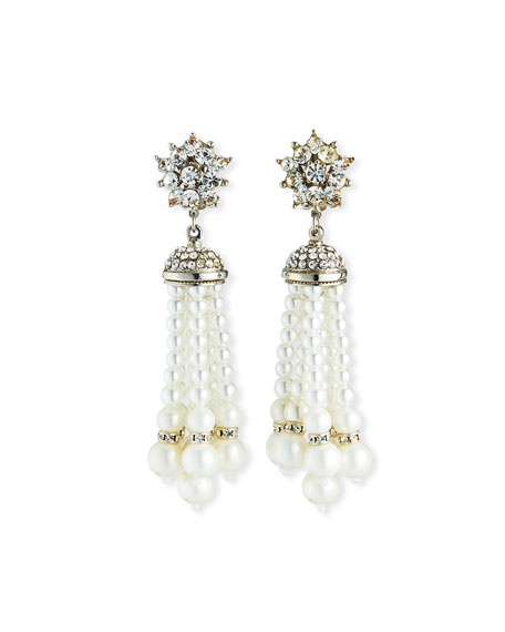 Jose & Maria Barrera Pearly Tassel Clip-On Earrings