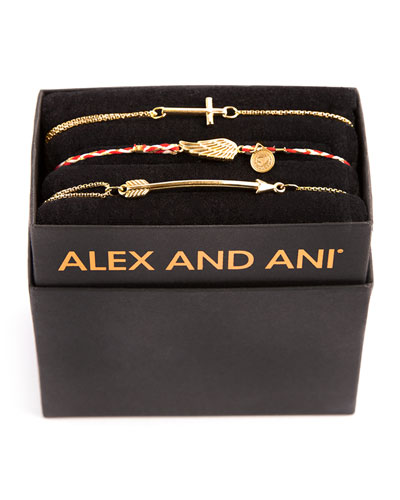 Mini Cross Bracelet Gift Set, Gold
