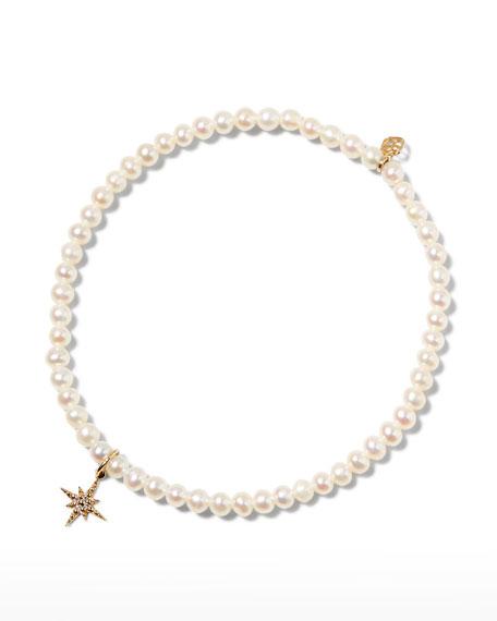 Sydney Evan 14k Diamond Mini Starburst and Pearl Bracelet