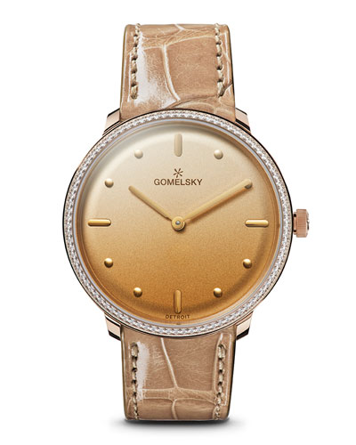 Audry Degrade Opaline Watch w/ Diamonds, Golden