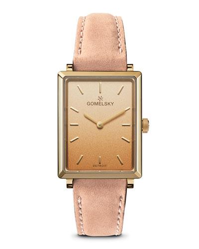 Shirley Degrade Rectangular Watch w/ Leather Pink/Gold