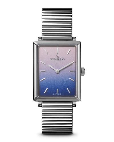 Shirley Degrade Rectangular Watch w/ Bracelet, Pink/Blue