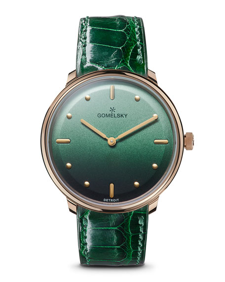 Gomelsky 36mm Audry Degrade Watch w/ Alligator Strap, Green