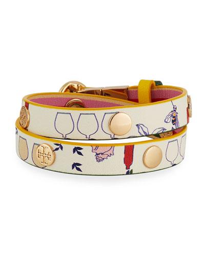 Printed Reversible Double-Wrap Bracelet