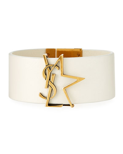 Leather YSL Monogram Star Bracelet, White/Gold, Size M