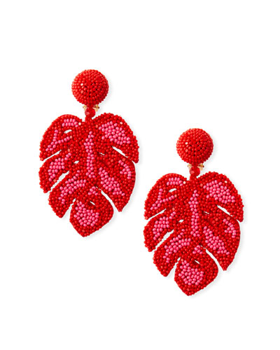 Beaded Monstera Leaf Clip-On Earrings