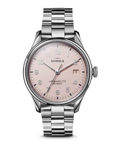 38mm Vinton Men's Bracelet Watch with Pink Dial