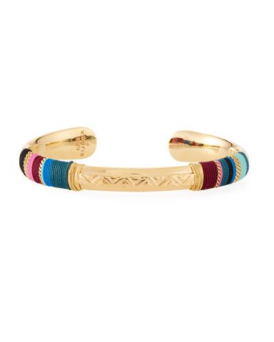 Massai Embossed Cuff Bracelet, Blue
