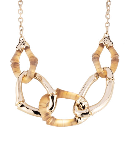Bamboo Link Necklace, Gold