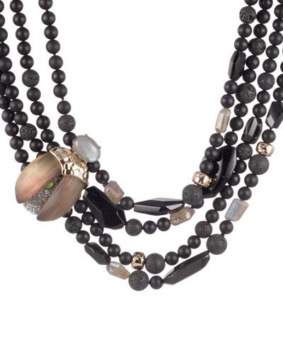 Crystal Encrusted Scarab Multi-Strand Bib Necklace