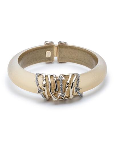 Orbiting Bamboo Crystal Encrusted Hinge Bracelet, Gold