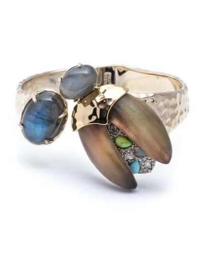 Crystal Encrusted Scarab Brake-Hinge Bracelet