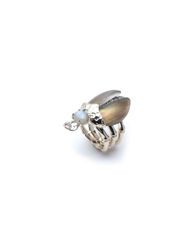 Crystal Encrusted Scarab Ring, Size 7