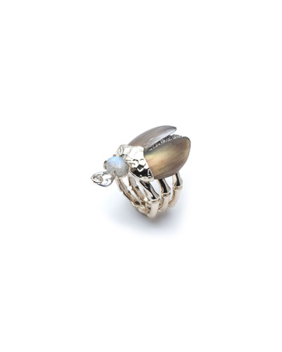 Crystal Encrusted Scarab Ring, Size 6