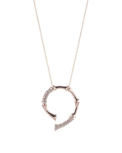 Crystal Bamboo Horseshoe Pendant Necklace