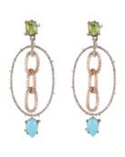 Alexis Bittar Multi Stone Mesh-Link Dangle Earrings