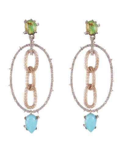 Multi Stone Mesh-Link Dangle Earrings