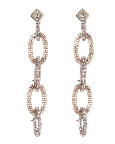Crystal Encrusted Mesh-Link Dangle Earring