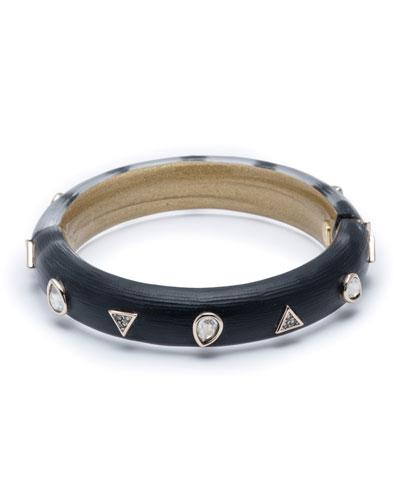 Crystal Pear Studded Hinge Bracelet, Black