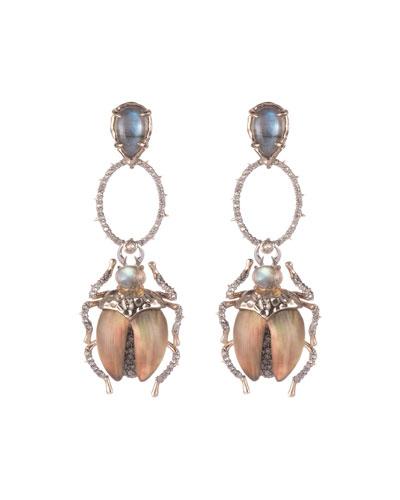 Crystal Encrusted Dangling Scarab Earrings