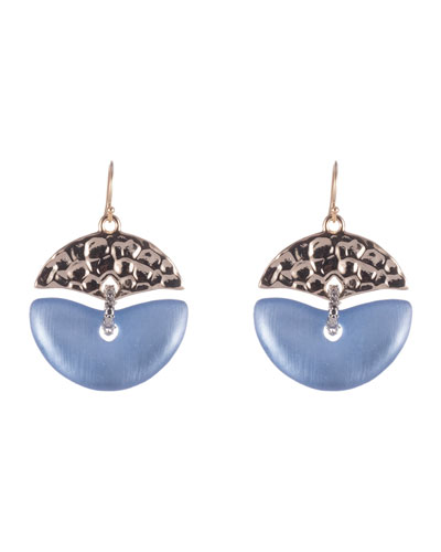 Hammered Mobile Wire Earrings, Blue