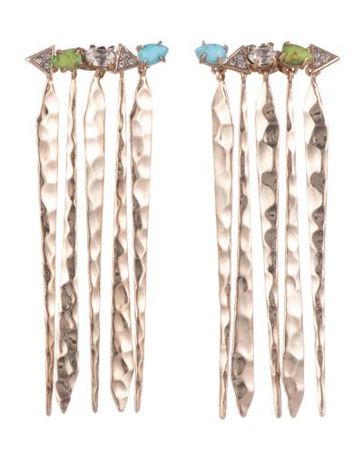 Multi-Stone Hammered Fringed Post Earrings