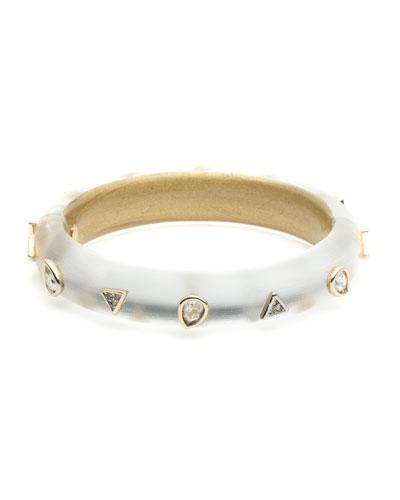 Crystal Pear Studded Hinge Bracelet, Gray