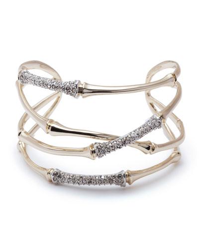 Orbiting Bamboo Crystal Encrusted Cuff Bracelet