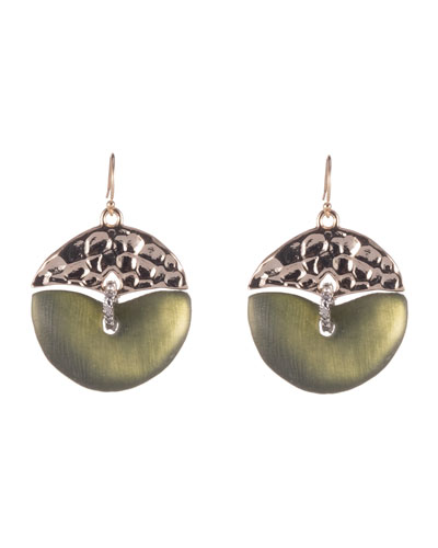 Hammered Mobile Wire Earrings, Sage