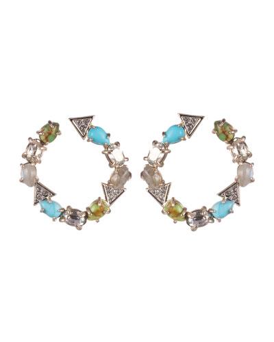 Multi-Stone Coiled Post Earrings