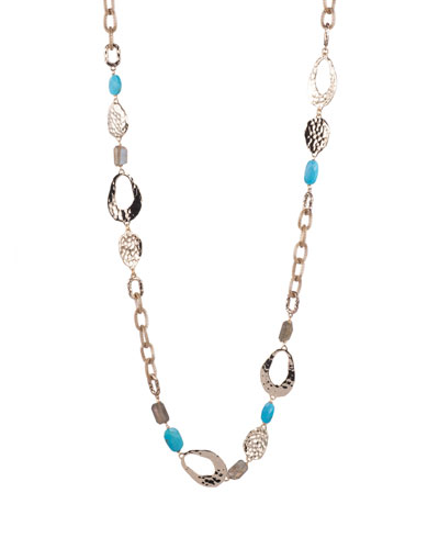Mesh Chain & Multi-Stone Necklace