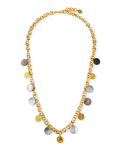 Long Coin & Mother-of-Pearl Necklace, 38