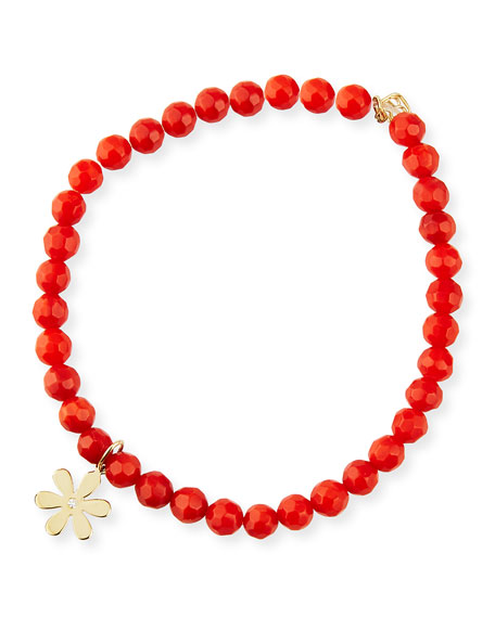 Sydney Evan 14k Diamond Daisy & Red Coral Bracelet