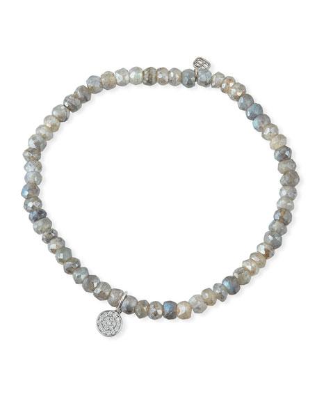Sydney Evan 14k White Gold Teeny Diamond Disc & Labradorite Bracelet