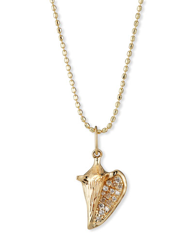 14k Diamond Pave Conch Shell Charm Necklace