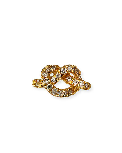 14k Diamond Love Knot Stud Earring, Single
