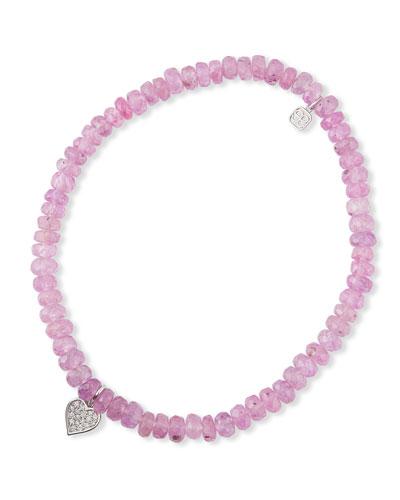 14k Diamond Heart & Sapphire Bracelet